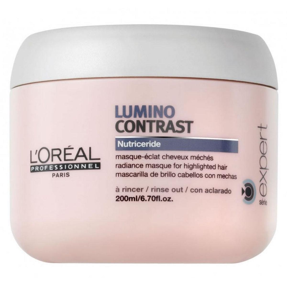 LOreal Professionnel Маска-сияние Expert Lumino Contrast - 200 млE3001876Как известно, мелированным волосам необходим особый уход, который отличается от ухода за окрашенными волосами. Специально для мелированных прядей была создана маска-сияние Люмино Контраст, которая справляется с несколькими задачами: Препятствует вымыванию цвета, питает волосы.Разглаживает волосы, создавая на них плёнку, которая защищает их от неблагоприятного воздействия внешних факторов.Дарит волосам сияние, шелковистость, гладкость и наполняет их энергией. Способствует восстановлению липидного баланса мелированных прядей, благодаря особой технологии Nutriceride. Облегчает процесс укладки и расчёсывание.