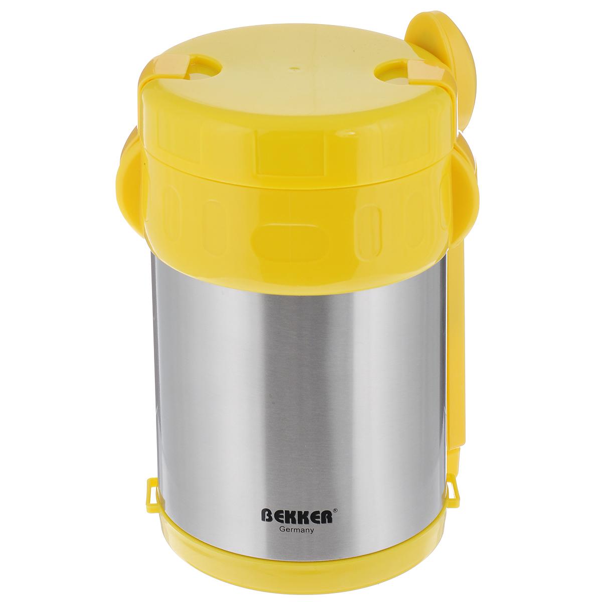 Термос Bekker Koch, с контейнерами, цвет: желтый, стальной, 2 л. BK-42VT-1520(SR)Пищевой термос с широким горлом Bekker Koch, изготовленный из высококачественной нержавеющей стали 18/8, является простым в использовании, экономичным и многофункциональным. Изделие с двойными стенками оснащено тремя контейнерами, ложкой и вилкой в оригинальном чехле и специальным ремнем для удобной переноски термоса. Термос с широким горлом предназначен для хранения горячей и холодной пищи, замороженных продуктов, мороженного, фруктов и льда и укомплектован вакуумной крышкой без кнопки. Такая крышка надежна, проста в использовании и позволяет дольше сохранять тепло благодаря дополнительной теплоизоляции.Легкий и прочный термос Bekker Koch сохранит ваши напитки и продукты горячими или холодными надолго.Высота (с учетом крышки): 22 см.Диаметр горлышка: 13 см.Диаметр контейнеров: 11,5 см.Высота контейнеров: 9 см; 5 см; 3,5 см. Объем контейнеров: 700 мл; 400 мл; 250 мл.Длина вилки/ложки: 15 см.