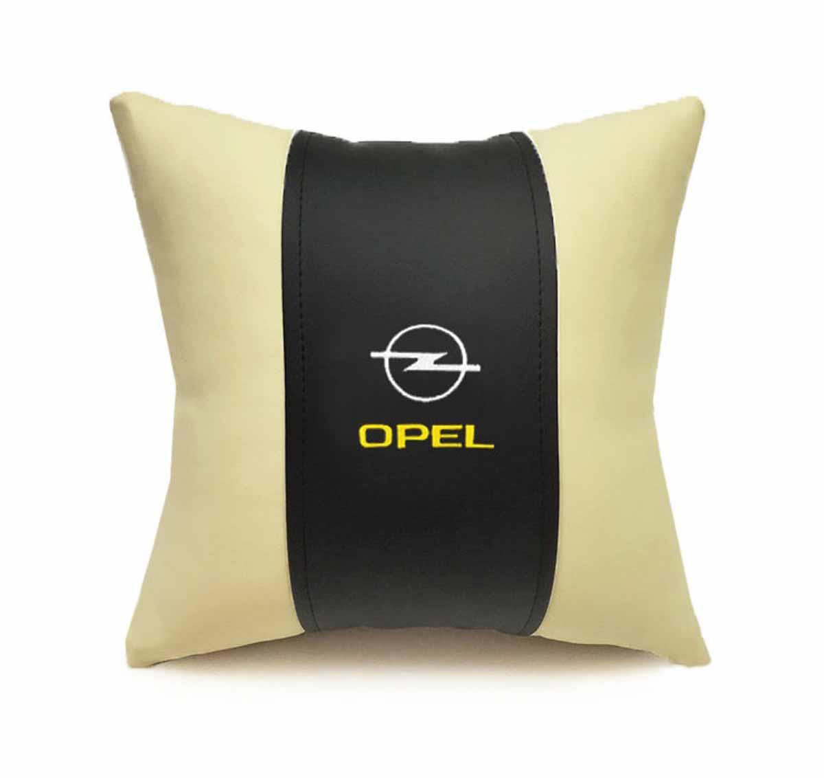 Подушка декоративная Auto premium OPEL, цвет: черно-бежевый. 37050Ветерок 2ГФПодушка в машину с вышивкой автологотипа - отличное дополнение для салона Вашего авто. Мягкая подушка изготовлена из матовой экокожи будет удобна пассажиру. К тому же не перестанет радовать Вас своим видом. Оптимальный размер подушки (30х30) не загромождает салон автомобиля.