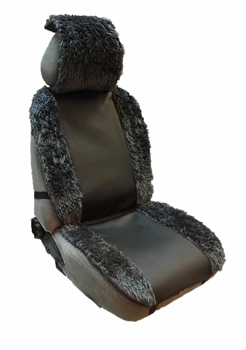 Накидка Auto premium на полное сидение, цвет: черный. 4710854 009312Комбинированная накидка из экокожи и искуственного меха. Стильное и практичное решение для салона автомобиля. Экокожа обеспечит долговечность использования накидки, а искуственный мех сделает сиденье автомобиля еще более комфортным. Долговечная и в то же время теплая накидка в Ваш автомобиль.