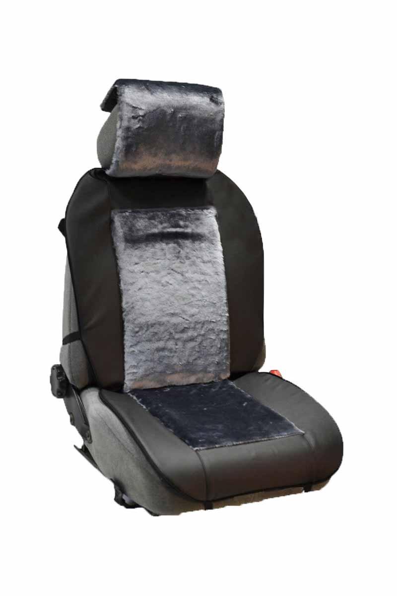 Накидка Auto premium на полное сидение, цвет: черно-серый. 4710998298130Комбинированная накидка из экокожи и искуственного меха. Стильное и практичное решение для салона автомобиля. Экокожа обеспечит долговечность использования накидки, а искуственный мех сделает сиденье автомобиля еще более комфортным. Долговечная и в то же время теплая накидка в Ваш автомобиль.
