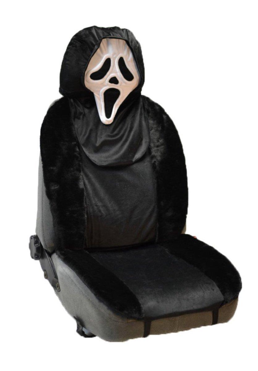 Накидка на полное сидение Auto premium Крик с анимачехлом на подголовник, цвет: черно-белый. 4711898298130Мягкая и удобная накидка на полное сидение. Чехол на подголовник в виде узнаваемой маски входит в комплект. Комфортная накидка сделана из искусственного меха в сочетании с плюшем.На Ваш автомобиль будут смотреть с нескрываемым удивлением. Накидка крепится на любое автомобильное сиденье