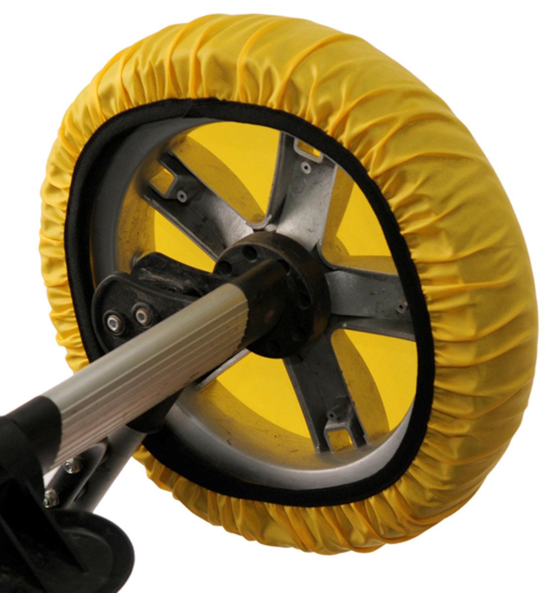 Чудо-Чадо Чехлы на колеса для коляски диаметр 28-38 см цвет желтый 4 шт -  Аксессуары для колясок
