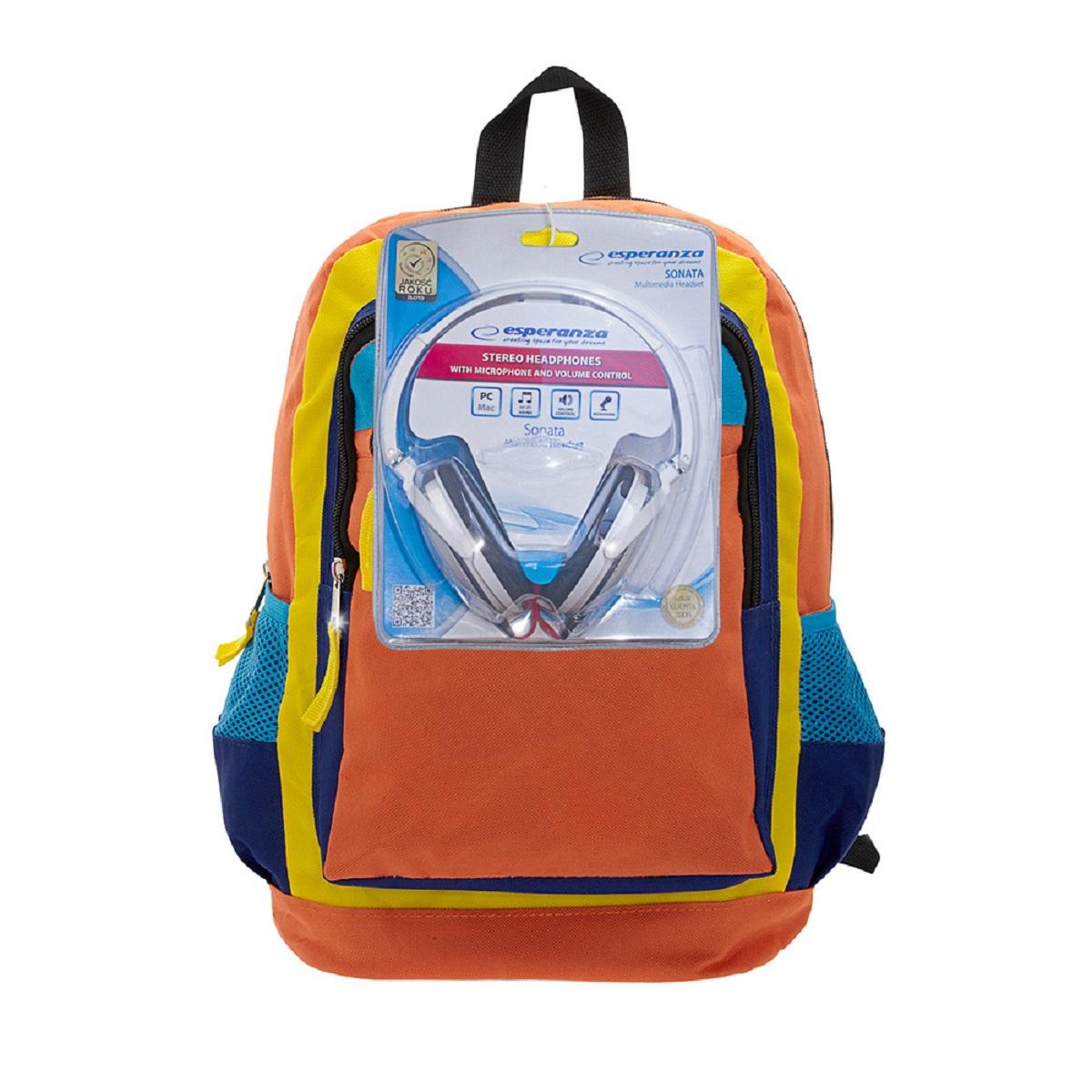 Рюкзак городской 3D Bags Оранжевое настроение, цвет: оранжевый, синий, 17 л + ПОДАРОК: Наушники3DHM251NСтильный, яркий, позитивный!!! Улучшит настроение в школьные будни и подчеркнет ваш неповторимый образ! В комплект входят белые стереонаушники с мягкими ушными подушками. Длина кабеля 2м, разъем 3,5мм, сопротивление 32 Ом, диапазон часто - 20 Гц-20000 Гц, выходная мощность - 100 мВт.Наушники поставляются в цветовом ассортименте. Поставка осуществляется в зависимости от наличия на складе.
