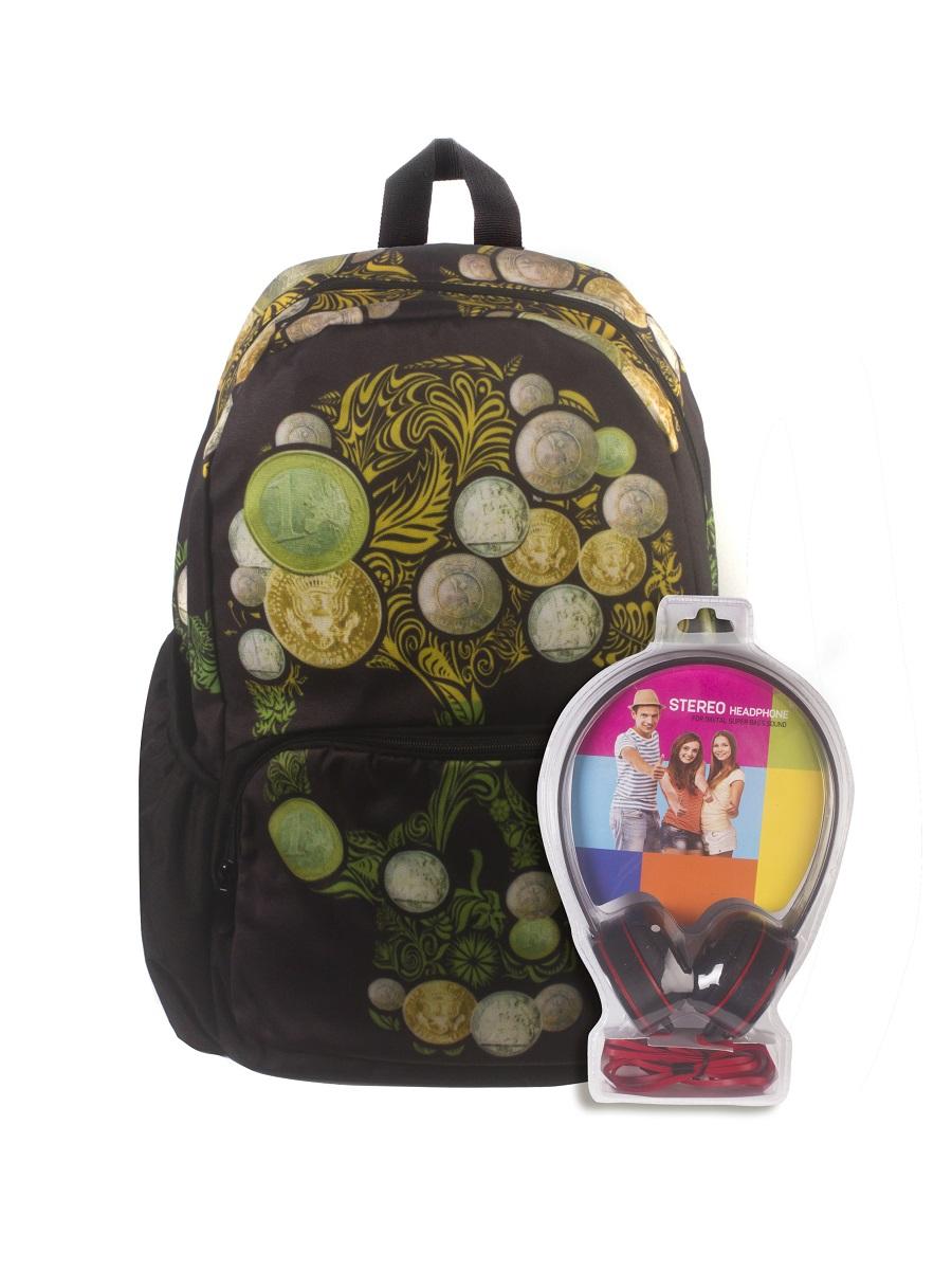 Рюкзак молодежный 3D Bags Роджер-Монеты, цвет: черный, зеленый, 27 л + ПОДАРОК: НаушникиWA-1505022Новая колекция для любителей Веселого Роджера. С этими рюкзаки вы всегда будете на пике популярности, а наушники, входящие в комлект, позволят вам не расставаться с любимой музыкой, фильмами и играми. Технические характеристики: длина шнура 1800 мм (+-50 мм), частота 20-20 КГц, импеданс 32 Ом (+-10%), чувствительность 105 дБ/В (+-3 дБ на 1 КГц), разъем mini-jack 3,5 мм.Наушники поставляются в цветовом ассортименте. Поставка осуществляется в зависимости от наличия на складе.