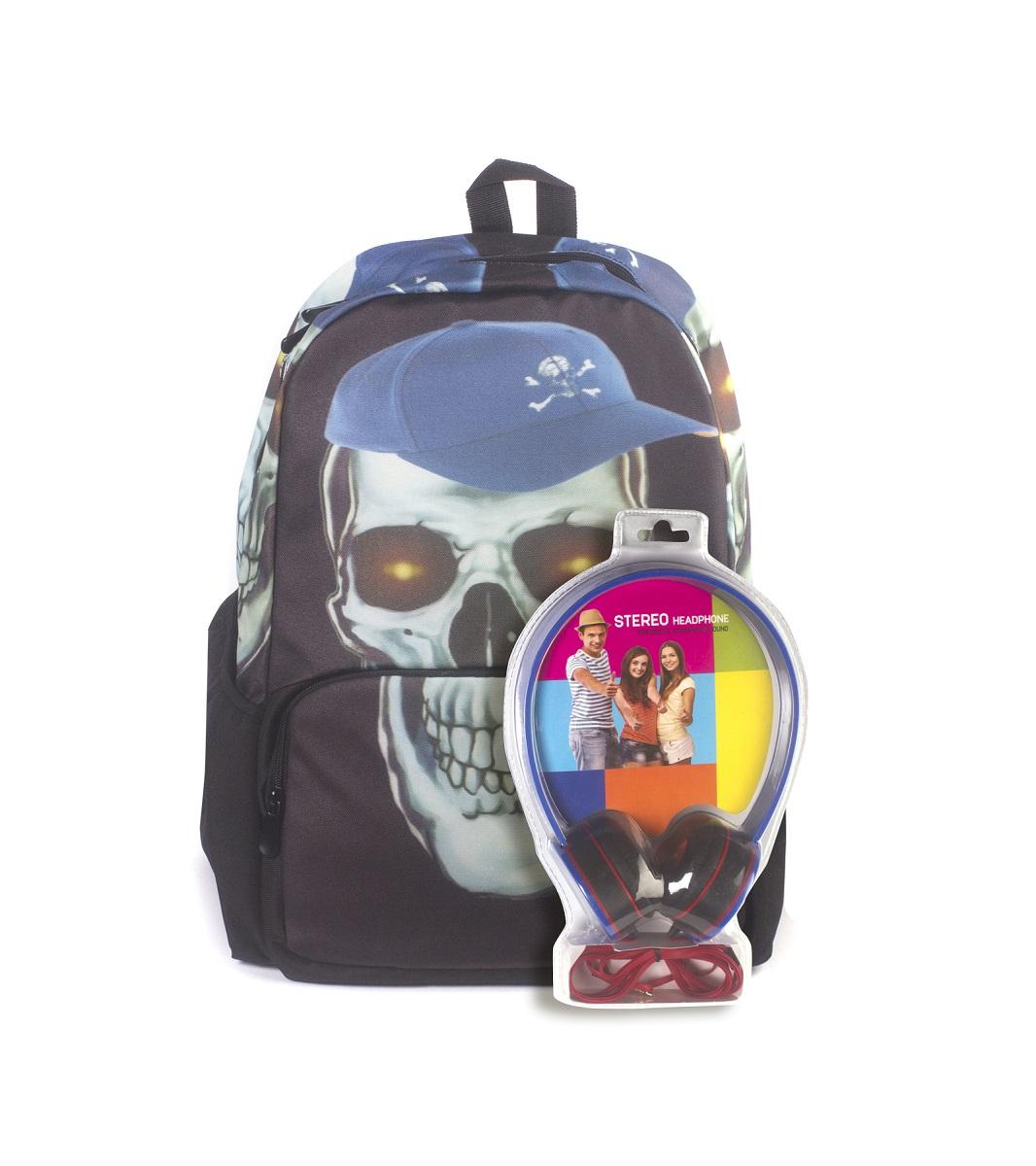 Рюкзак молодежный 3D Bags Роджер-Бейсболка, цвет: черный, голубой, 27 л + ПОДАРОК: НаушникиWA-1505024Новая колекция для любителей Веселого Роджера. С этими рюкзаки вы всегда будете на пике популярности, а наушники, входящие в комлект, позволят вам не расставаться с любимой музыкой, фильмами и играми. Технические характеристики: длина шнура 1800 мм (+-50 мм), частота 20-20 КГц, импеданс 32 Ом (+-10%), чувствительность 105 дБ/В (+-3 дБ на 1 КГц), разъем mini-jack 3,5 мм.Наушники поставляются в цветовом ассортименте. Поставка осуществляется в зависимости от наличия на складе.