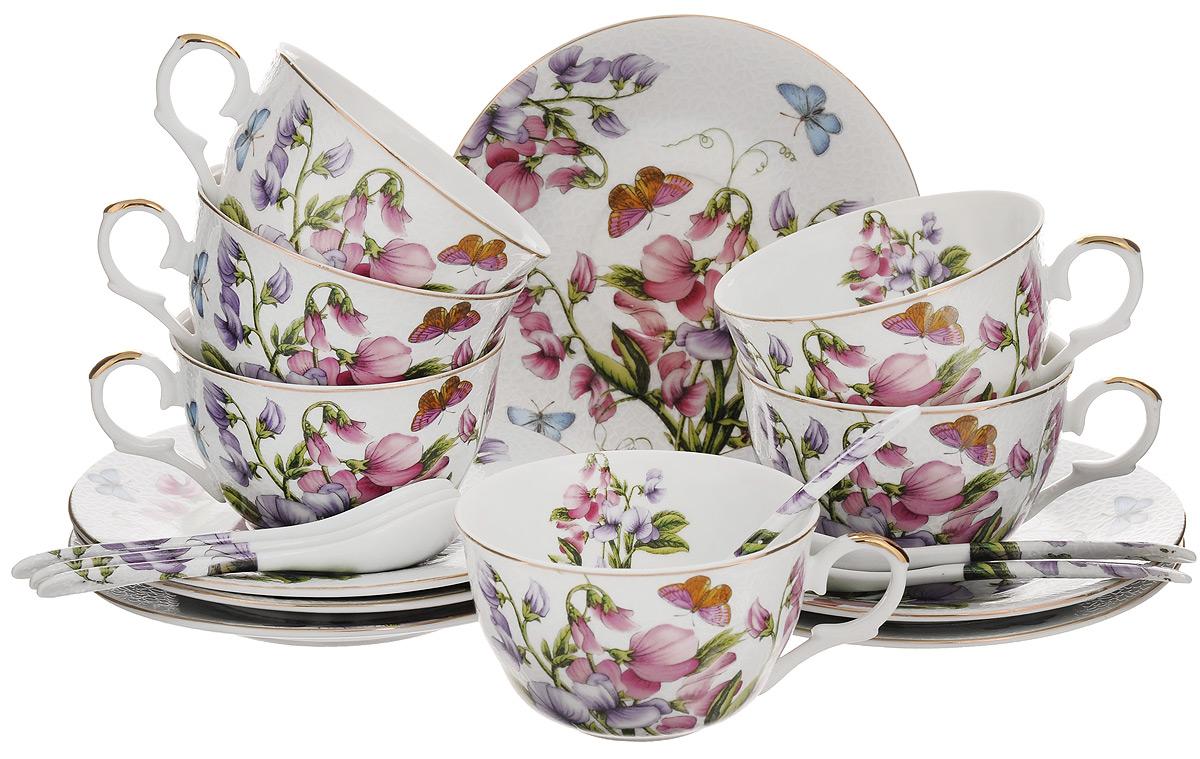 Набор чайный Elan Gallery Душистый цветок, 18 предметовVT-1520(SR)Чайный набор Elan Gallery Душистый цветок состоит из 6 чашек, 6 блюдец и 6 ложек. Изделия, выполненные из высококачественной керамики, имеют элегантныйдизайн и классическую круглую форму.Такой набор прекрасно подойдет как для повседневного использования, так и дляпраздников. Чайный набор Elan Gallery Душистый цветок - это не только яркий и полезный подарок дляродных иблизких, но и великолепное дизайнерское решение для вашей кухни илистоловой. Не использовать в микроволновой печи.Объем чашки: 250 мл. Диаметр чашки (по верхнему краю): 9,5 см. Высота чашки: 5,5 см.Диаметр блюдца (по верхнему краю): 15 см.Высота блюдца: 1,5 см.Длина ложки: 12,5 см.