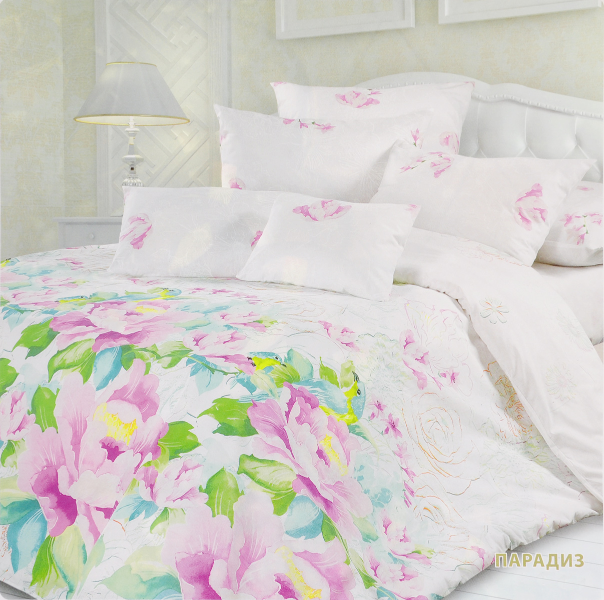 Комплект белья Унисон Парадиз, евро, наволочки 70х70, цвет: белый, розовый, зеленыйCA-3505Комплект постельного белья Унисон Парадиз состоит из пододеяльника, простыни и двух наволочек. Постельное белье оформлено оригинальным ярким изображением цветов. Такой дизайн придется по душе каждому.Белье изготовлено из новой ткани Биоматин, отвечающей всем необходимым нормативным стандартам. Биоматин - это тканьполотняного переплетения, из экологически чистого и натурального 100% хлопка. Неоспоримым плюсом белья из такой ткани является мягкостьи легкость, она прекрасно пропускает воздух, приятна на ощупь и за ней легко ухаживать. При соблюдении рекомендаций по уходу, это белье выдерживает много стирок, не линяети не теряет свою первоначальную прочность. Уникальная ткань обеспечивает легкую глажку.Приобретая комплект постельного белья Унисон Парадиз, вы можете быть уверенны в том, что покупка доставит вам ивашим близким удовольствие и подарит максимальный комфорт.
