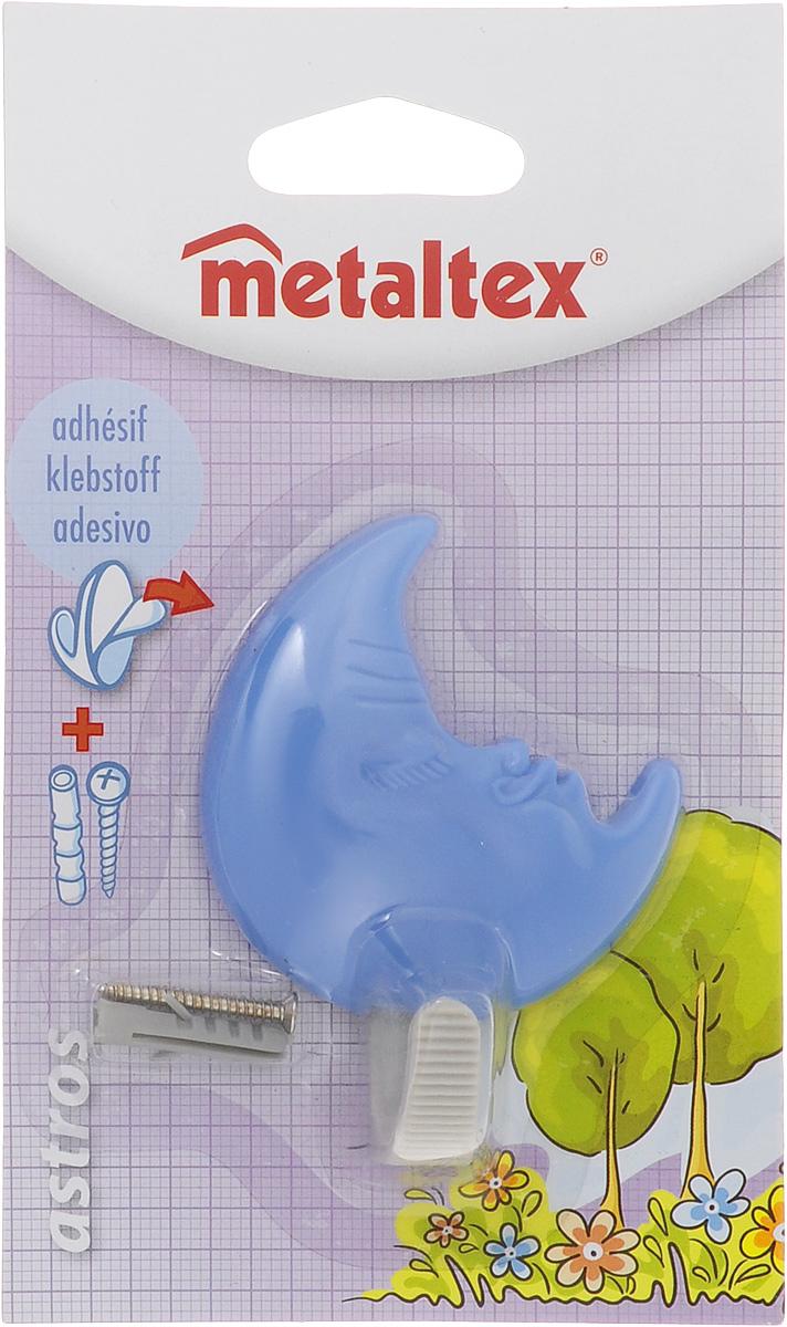 Крючок настенный Metaltex Astros. Луна, цвет: голубой68/5/3Настенный крючок Metaltex Astros. Луна изготовлен из высококачественного цветного пластика. Он прекрасно подойдет для вашей ванной комнаты или кухни и не займет много места, надежно выдержав все, что вы на него повесите. Крючок крепится на стену с помощью липкой ленты, которая находится на задней стороне крючка или при помощи шурупа (входит в комплект). Он приклеивается к гладкой, ровной и чистой поверхности. На него можно вешать полотенца или любые другие вещи.