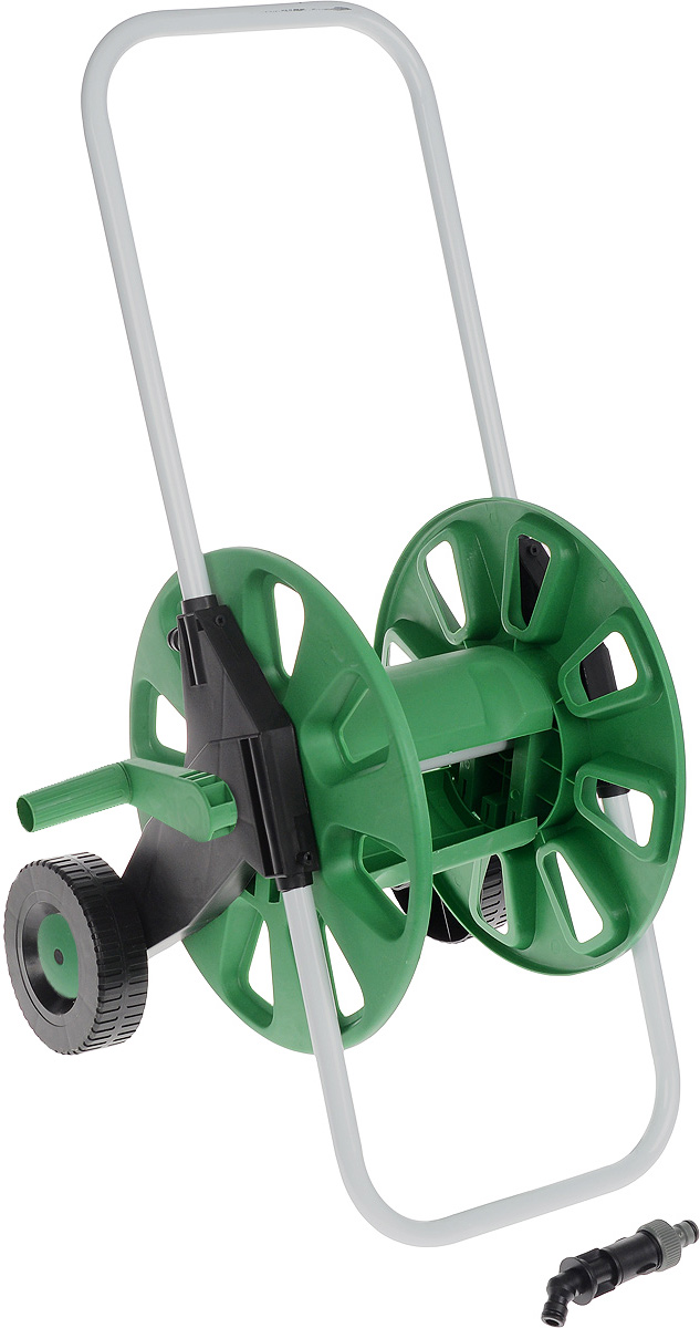 Катушка для шланга FIT, на колесах, цвет: зеленый, белый, черный. 77278787502Катушка для шланга на колесах FIT, изготовленная из инструментальной стали и пластика, предназначена для хранения и транспортировки поливочных садовых шлангов. Она вмещает до 60 метров шланга диаметром 1/2 или до 45 метров шланга диаметром 3/4. Шланг присоединяется к адаптеру на корпусе катушки под углом с помощью быстросъемного соединителя (не входит в комплект), что позволяет избежать его перегибания и скручивания. Благодаря колесам транспортировка приспособления будет легкой и удобной. Оптимально расположенная ручка позволит быстро намотать шланг на катушку, не прилагая лишних усилий.Дополнительную устойчивость и надежность инструменту обеспечивает опорная рама. Благодаря металлическому каркасу катушка прослужит долгое время при правильной и бережной эксплуатации.Диаметр катушки: 34,5 см.