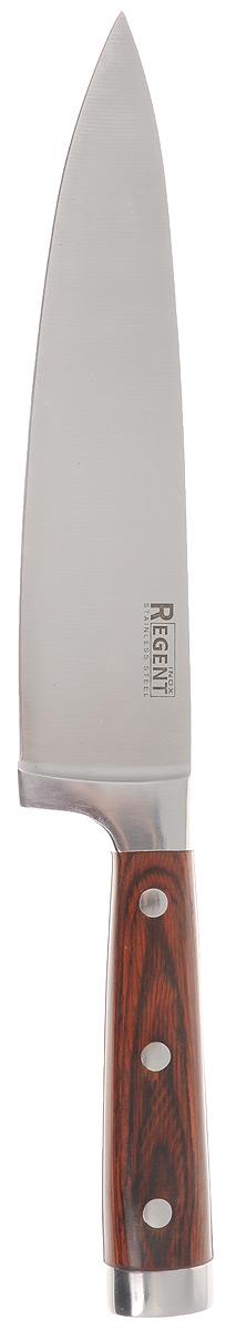 Нож поварской Regent Inox Nippon, длина лезвия 20 см9/903Поварской нож Regent Inox Nippon изготовлен из высококачественной нержавеющей стали. Острое прочное кованое лезвие ножа имеет ровную поверхность и выверенный угол заточки. Специальная закалка металла обеспечивает повышенную прочность. Сбалансированность ножа обеспечивает приложение минимальных усилий при резке. Лезвие ножа не впитывает запахи и не оставляет запаха на продуктах.Оригинальная и практичная ручка выполнена из пакка. Пакка - это слоистый пластик, главными составляющими которого является какая-либо ценная древесина, служащая основой и фенольная смола, которая служит наполнителем материала.Нож с тяжелой ручкой, толстым, широким и длинным лезвием с центральным острием. Все это позволяет легко рубить капусту, овощи, зелень, резать замороженное мясо, рыбу и птицу. Такой нож займет достойное место среди аксессуаров на вашей кухне. Характеристики:Материал: нержавеющая сталь, пакк. Общая длина ножа: 34 см. Длина лезвия: 20 см. Артикул: 93-KN-NI-1.