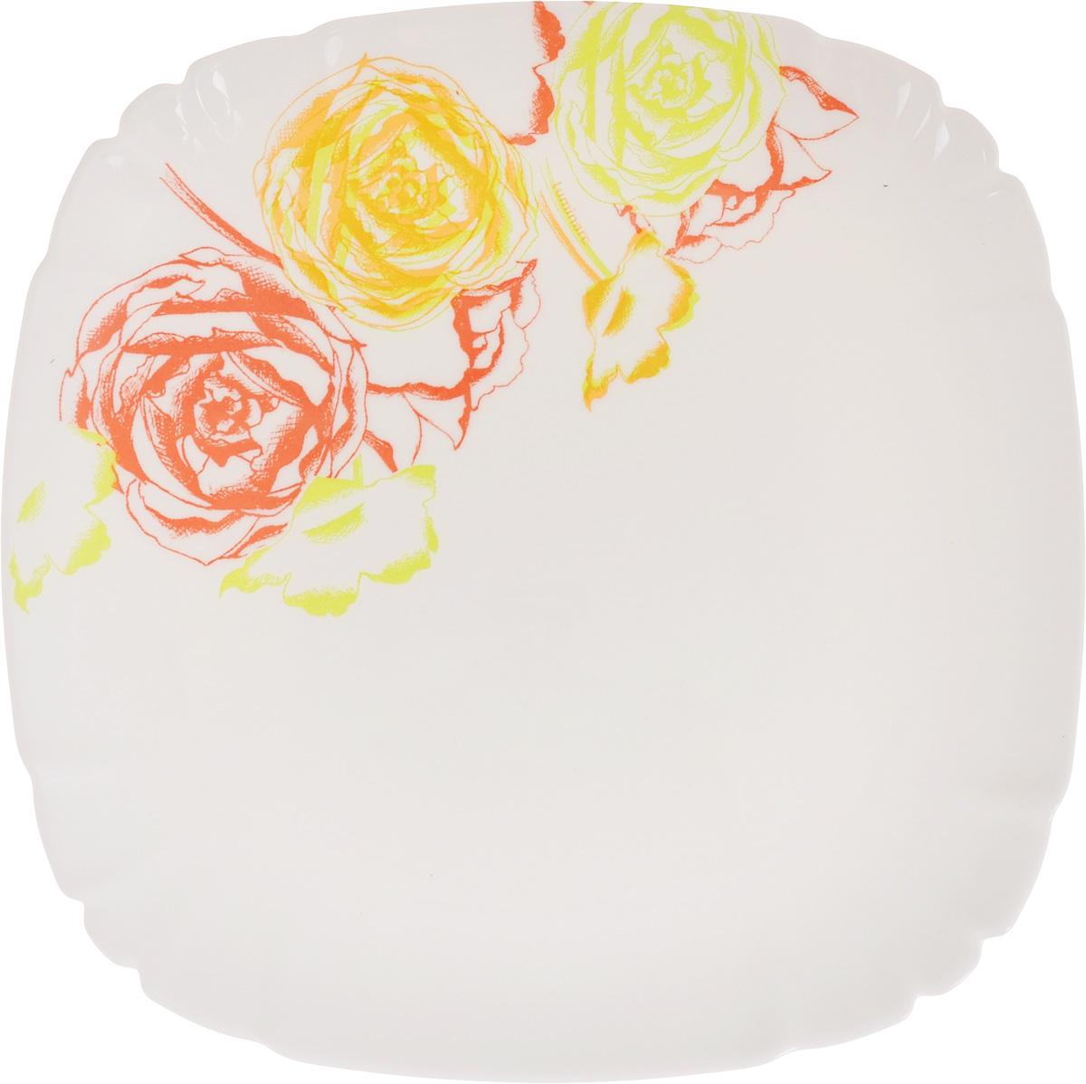 Тарелка десертная Luminarc Amaria, 21 х 21 см54 009312Квадратная десертная тарелка Luminarc Amaria, изготовленная изударопрочного стекла, декорирована изображением цветов. Такая тарелка прекрасно подходит как дляторжественных случаев, так и для повседневногоиспользования. Идеальна для подачи десертов, пирожных, тортов имногого другого. Она прекрасно оформит стол и станетотличным дополнением к вашей коллекции кухоннойпосуды. Размеры тарелки (по верхнему краю): 21 х 21 см. Высота тарелки: 1 см.