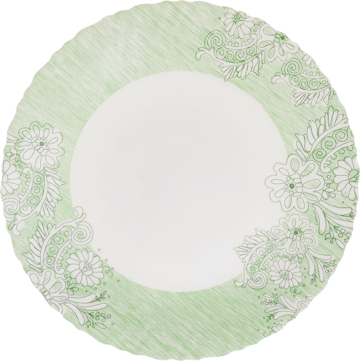 Тарелка обеденная Luminarc Minelly Green, 25 см115510Обеденная тарелка Luminarc Minelly Green, изготовленная из высококачественного стекла,имеет изысканный внешний вид. Яркий дизайн придется по вкусу и ценителям классики,и тем, кто предпочитает утонченность. Тарелка Luminarc Minelly Green идеально подойдет для сервировкистола и станет отличным подарком к любому празднику.Диаметр (по верхнему краю): 25 см.Высота тарелки: 2 см.
