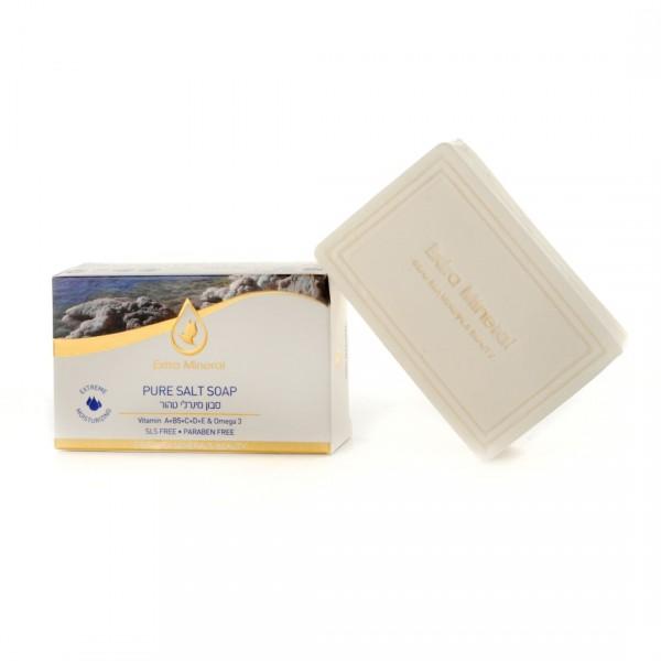 Extra Mineral Солевое мыло 125 гFS-00897Увлажняющее мыло из соли Мертвого моря. Уникальное мыло по своему составу - содержит соль Мертвого моря, 26 минералов Мертвого моря, комплекс витаминов А, С, В5, D, витамин «красоты» Е, полиненасыщенную жирную кислоту Омега 3. Обладает эффектом экстра-увлажнения кожи. Не содержит агрессивных и вредных для человека химических компонентов, благотворно влияет на кожу лица, головы и тела. Рекомендуется для всех типов кожи и волос. Показано для ежедневного применения.