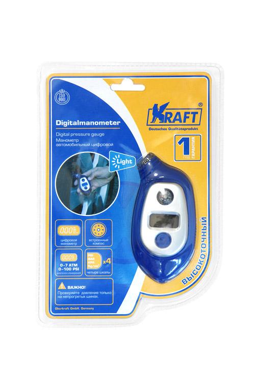Манометр Kraft цифровойКТ 800028Пластиковый корпус. Цифровой. 4 шкалы измерения.
