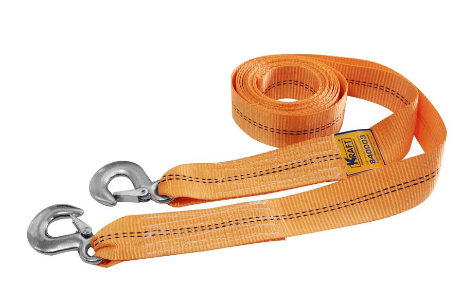 Трос буксировочный Kraft, 4 т, 5 мPANTERA SPX-2RSБуксировочный трос Kraft представляет собой ленту из полиэстера, оснащенную двумя прочными металлическими крюками с пружинными фиксаторами для более удобного и безопасного соединения. На протяжении всего срока службы не меняет свои линейные размеры.Буксировочный трос обязательно должен быть в каждом автомобиле. Он необходим на случай аварийной ситуации или если ваш автомобиль застрял на бездорожье.Длина: 5 м.Ширина ленты: 5 см.Рабочая нагрузка: 4 т.