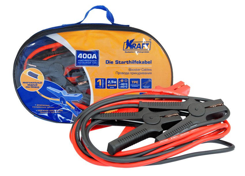Провода прикуривания Kraft, 400А98291117400 ампер,многожильный медный ССА провод, профессиональные зажимы, рабочая тем-ра от -40°С до +80°С