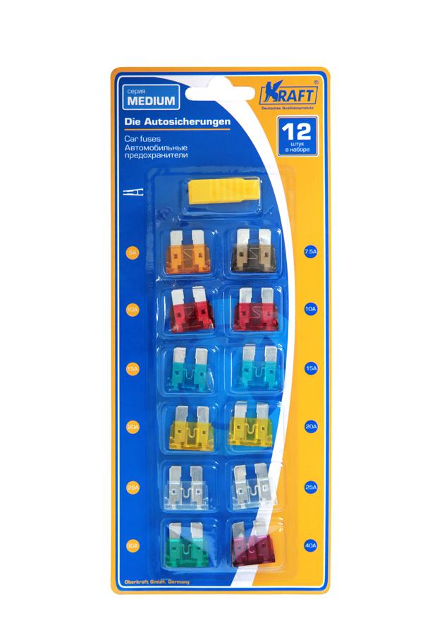 Набор предохранителей Kraft MEDIUM, 12 шт2012506200424Состав блистера (12шт): предохранитель 5 ампер - 1 шт, 7,5А - 1 шт, 10А - 2шт, 15А-2шт, 20А-2шт, 25А-2шт, 30А-1шт, 40А-1шт. В состав входит удобный пинцет для замены предохранителей.