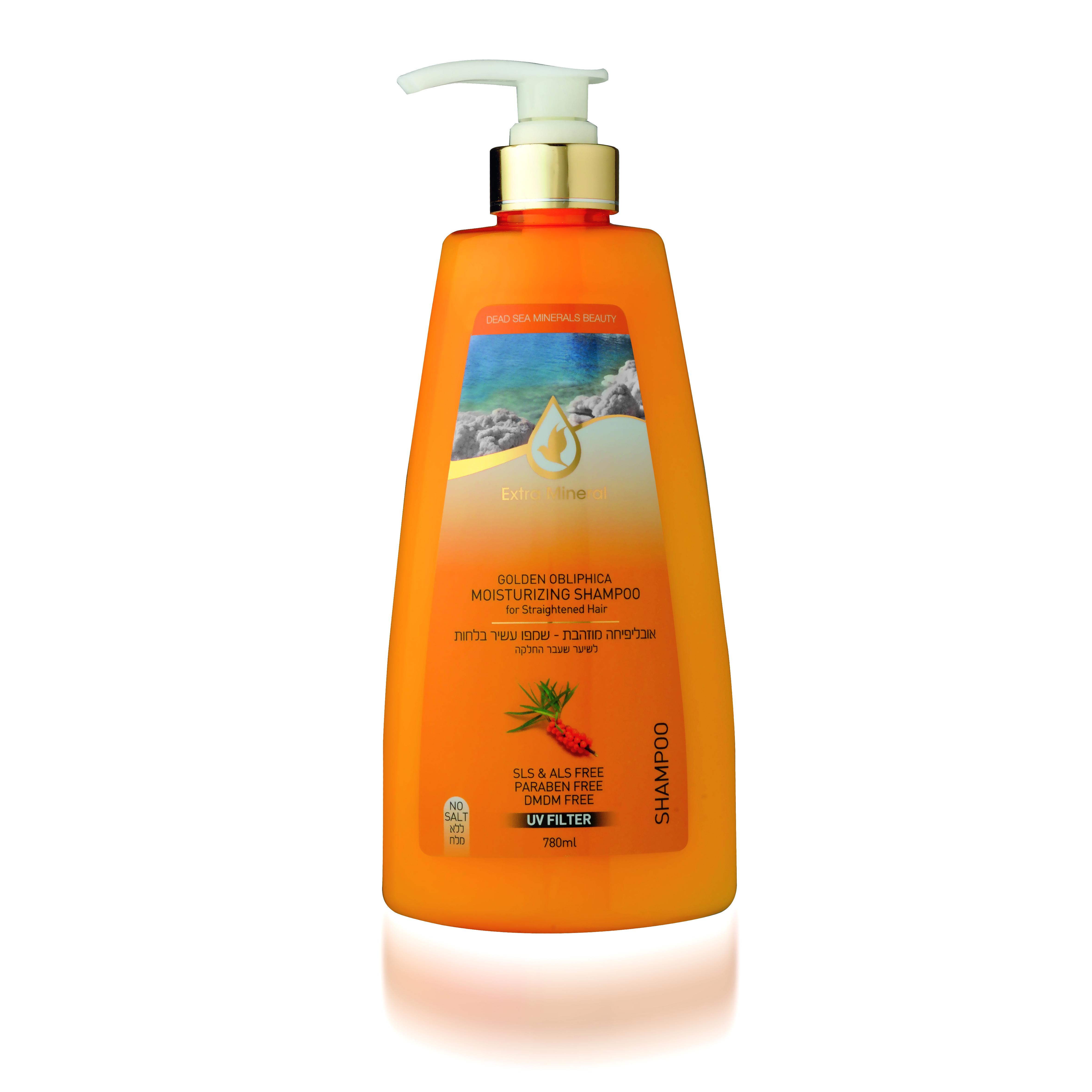 Extra Mineral Увлажняющий шампунь с облепихой для всех типов волос 780 млFS-00897Шампунь Extra Mineral с золотой облепихой, увлажняющий, укрепляющий. Содержит масло облипихи, оливковое масло, витамин минералы Мертвого моря. В составе содержит UV-фильтр, который защищает волосы от ультра-фиолетовых лучей, очищает волосы от соли, хлора и песка, восстанавливает баланс кожи головы. Волшебное сочетание активных натуральных компонентов благотворно влияет на волосы и кожу головы, волосы увлажняются и питаются, становятся шелковистыми. Нежная легкая пена дает ощущение свежести. Вы сразу почувствуете, как волосы начинают дышать, а изысканный аромат облепихи не оставит вас равнодушным! Благодаря активному действию минералов Мертвого моря волосы насыщаются необходимыми минералами, волосы оздоравливается, улучшается их внешний вид; улучшается клеточный метаболизм кожи головы и лица, стимулируется синтез белка, повышается регенерация клеток. Минералы обладают сильными антиаллергенными свойствами и являются мощными антиоксидантами; повышается микроциркуляция крови, улучшается состояние кожи и подкожной клетчатки, волосы увлажняются и питаются, а кожа лица и головы омолаживается; оптимизируется оптимальный уровень Ph волос и кожи. Минералы Мертвого моря оказывают защитное действие от УФ-лучей. Шампунь прекрасно увлажняет волосы, восстанавливая их структуру, делает волосы более послушными и возвращает им естественный блеск. Шампунь оказывает противовоспалительное действие, способствует ускорению заживления, оказывает антиоксидантное и успокаивающее действие, питает и смягчает кожу, помогает бороться с шелушением, устраняет следы высыпаний. При втирании в кожу головы помогает улучшить состояние сухих и секущихся волос. Волосы интенсивно питаются, становятся гладкими, шелковистыми, излучают здоровый блеск. Рекомендовано для всех типов волос.