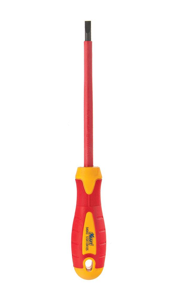 Отвертка диэлектрическая крестовая Kraft PH2х100 КТ 70043080625- отвертка диэлектрическая крестовая 2x100mm (до 1000 В, стандарт VDE)