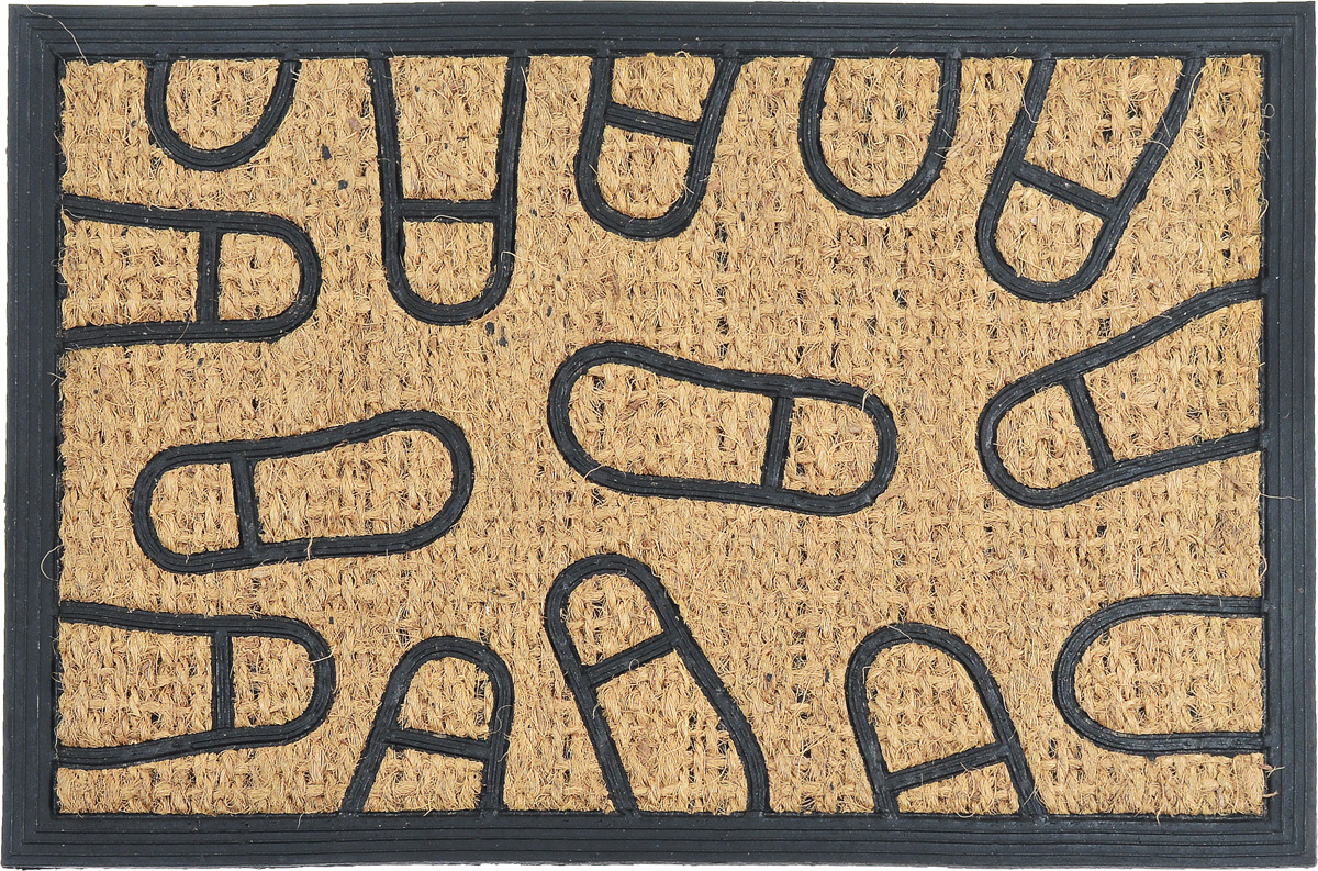 Коврик придверный SunStep Следы, 60 х 40 см8812Оригинальный придверный коврик SunStep Следы надежно защитит помещение от уличной пыли и грязи. Он изготовлен из жесткого кокосового волокна и нескользящей резиновой основы. Волокна кокоса не подвержены гниению и не темнеют, поэтому коврик сохранит привлекательный внешний вид на долгое время.