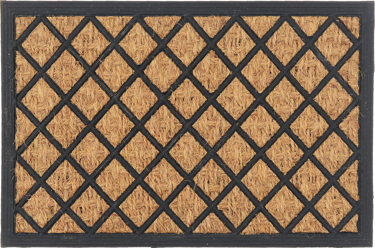 Коврик придверный SunStep Ромбики, 60 х 40 см1208.1Оригинальный придверный коврик SunStep Ромбики надежно защитит помещение от уличной пыли и грязи. Он изготовлен из жесткого кокосового волокна и нескользящей резиновой основы. Волокна кокоса не подвержены гниению и не темнеют, поэтому коврик сохранит привлекательный внешний вид на долгое время.