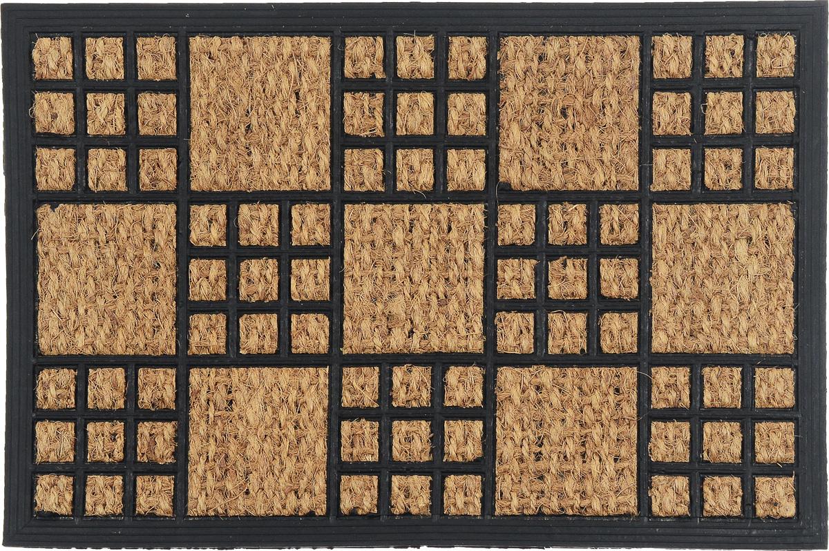Коврик придверный SunStep Шашки, 60 х 40 смES-412Оригинальный придверный коврик SunStep Шашки надежно защитит помещение от уличной пыли и грязи. Он изготовлен из жесткого кокосового волокна и нескользящей резиновой основы. Волокна кокоса не подвержены гниению и не темнеют, поэтому коврик сохранит привлекательный внешний вид на долгое время.