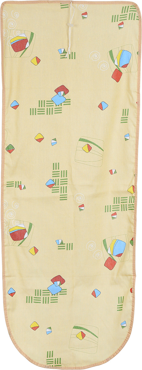 Чехол для гладильной доски Detalle, цвет: желтый, красный, зеленый, 125 х 47 смЕ1301_желтый,мультиколорЧехол для гладильной доски Detalle, выполненный из хлопка с подкладкой из мягкого войлокообразного полотна (ПЭФ), предназначен для защиты или замены изношенного покрытия гладильной доски. Чехол снабжен стягивающим шнуром, при помощи которого вы легко отрегулируете оптимальное натяжение чехла и зафиксируете его на рабочей поверхности гладильной доски.Из войлокообразного полотна вы можете вырезать подкладку любого размера, подходящую именно для вашей доски. Этот качественный чехол обеспечит вам легкое глажение. Он предотвратит образование блеска и отпечатков металлической сетки гладильной доски на одежде. Войлокообразное полотно практично и долговечно в использовании. Размер чехла: 125 x 47 см.Максимальный размер доски: 120 х 42 см.Размер войлочного полотна: 132 х 53 см.