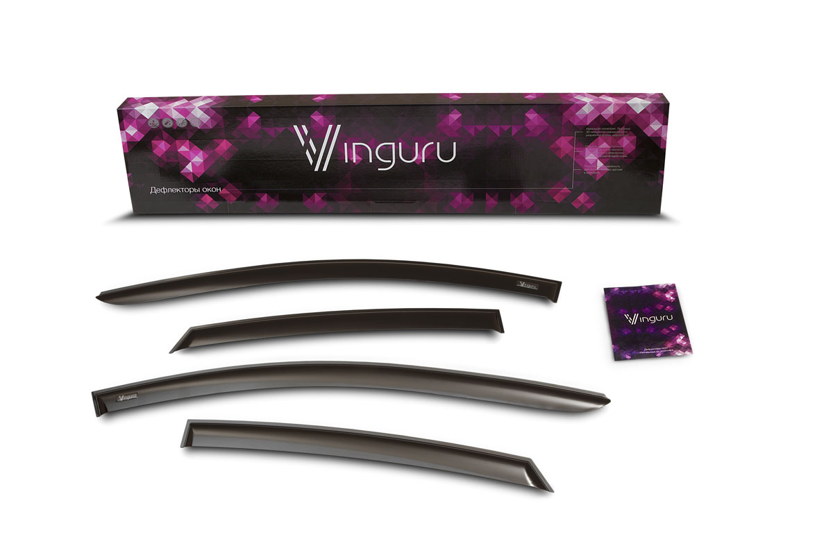 Комплект дефлекторов Vinguru, накладные, скотч, для SsangYong Kyron I 2005- внедорожник, 4 шт222100Комплект накладных дефлекторов Vinguru позволяет направить в салон поток чистого воздуха, защитив от дождя, снега и грязи, а также способствует быстрому отпотеванию стекол в морозную и влажную погоду. Дефлекторы улучшают обтекание автомобиля воздушными потоками, распределяя их особым образом. Дефлекторы Vinguru в точности повторяют геометрию автомобиля, легко устанавливаются, долговечны, устойчивы к температурным колебаниям, солнечному излучению и воздействию реагентов. Современные композитные материалы обеспечиваю высокую гибкость и устойчивость к механическим воздействиям. Каждый комплект упакован в пузырчатую защитную пленку, картонный короб и имеет праймер адгезии, оригинальный скотч 3М и подробную инструкцию по установке.