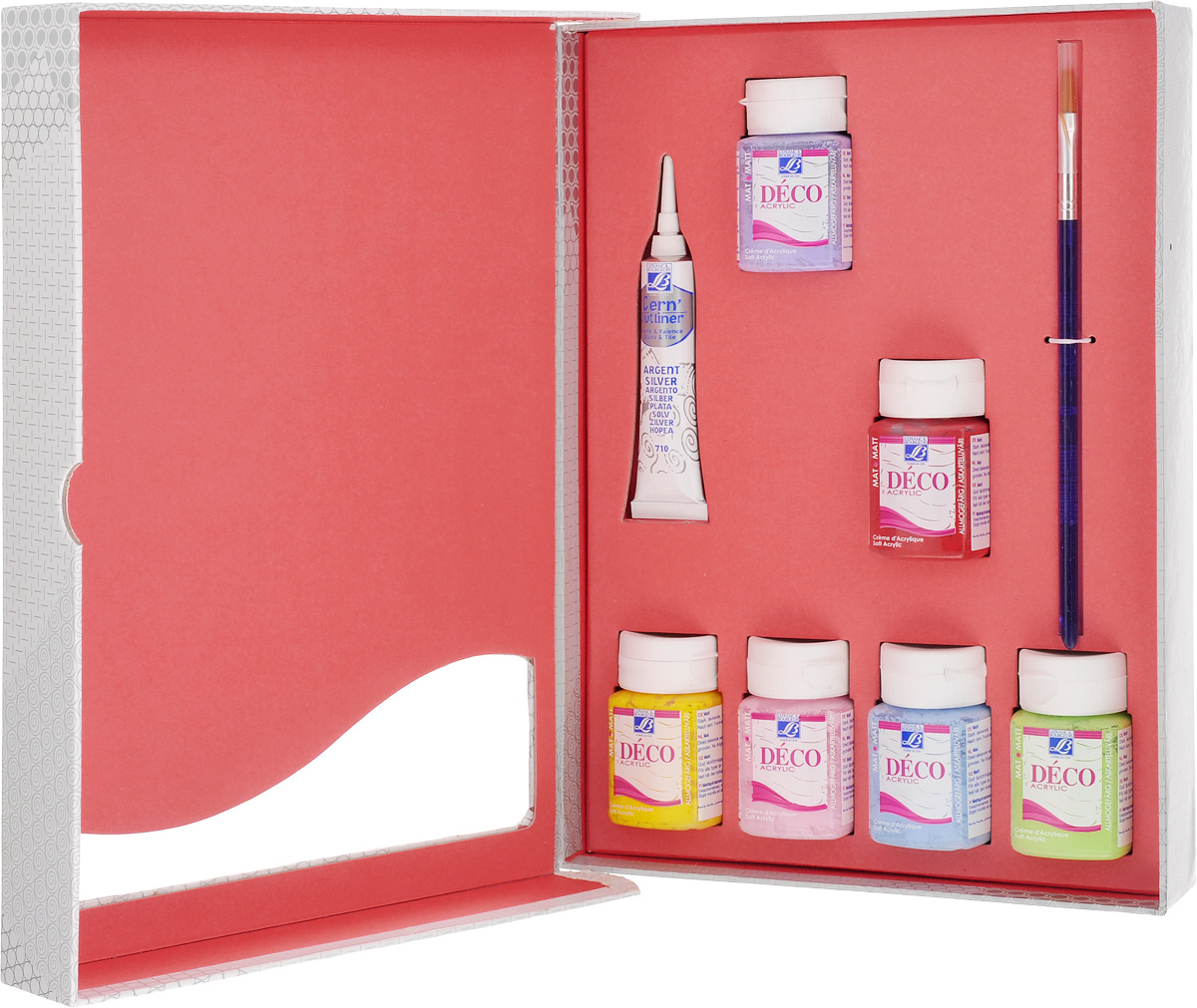 Набор акриловых красок Lefranc & Bourgeois Miss Deco, 8 предметов. LF21161505045850Набор Lefranc & Bourgeois Miss Deco включает 6 акриловых красок разных цветов (желтый нарцисс, интенсивный красный, розовый, лавандовый, голубой, анисовый), серебряный контур и кисть. Краски с эффектом матового покрытия предназначены для художественных ремесел и хобби. Произведены по специальной рецептуре для усиления сцепления на всех впитывающих поверхностях. Идеально подходят для окрашивания дерева, бумаги, картона, оштукатуренных поверхностей, моделирующей пасты, глины, соломки, стен с матовым эмульсионным покрытием, тканей, не допускающих стирки. Также краски можно использовать для невпитывающих поверхностей: стекло, металл (металлические поверхности должны быть загрунтованы), пластик. Высокая насыщенность красок создает эффект нежного бархатистого покрытия. Взаимосмешиваемы. Прочное матовое покрытие обладает пылезащитными свойствами.Объем краски: 50 мл. Количество красок: 6 шт. Объем контура: 20 мл. Длина кисти: 19 см.