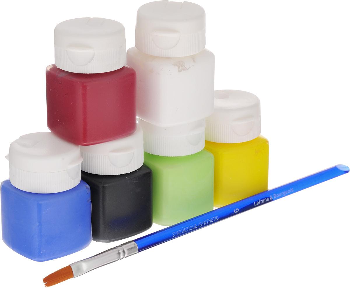 Набор акриловых красок Lefranc & Bourgeois Miss Deco Matt, 7 предметов540402Набор Lefranc & Bourgeois Miss Deco Matt включает 6 акриловых красок разных цветов (желтый нарцисс, кармин, анисовое семя, голубой океан, белый, черный марс) и кисть. Краски с эффектом матового покрытия предназначены для художественных ремесел и хобби. Могут использоваться для окрашивания дерева, оштукатуренных поверхностей, бумаги, картона и других материалов. Достаточно нанести один слой. Объем краски: 20 мл. Количество красок: 6 шт. Длина кисти: 19 см.