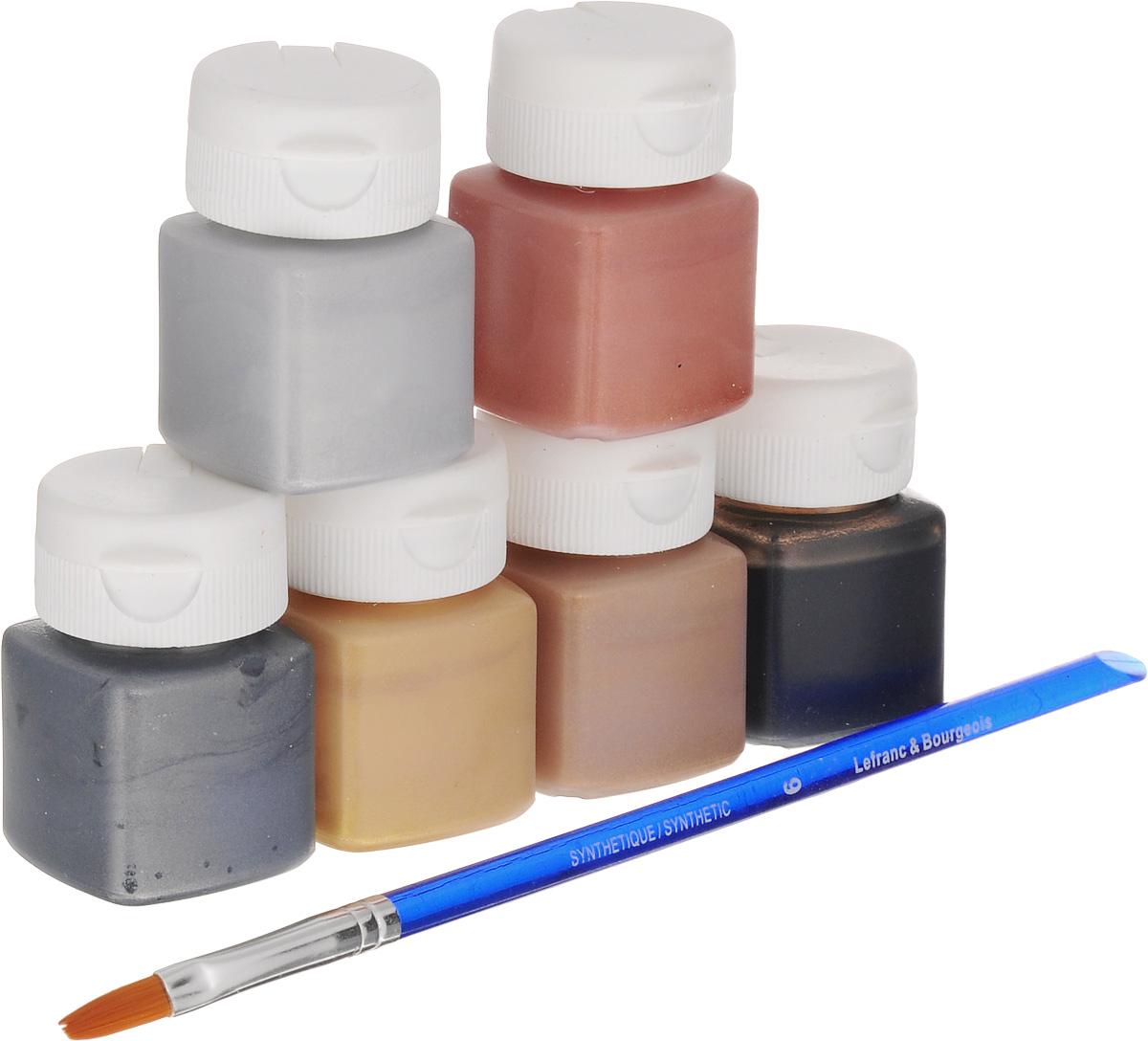 Набор акриловых красок Lefranc & Bourgeois Miss Deco Metallic, 7 предметов616001Набор Lefranc & Bourgeois Miss Deco Metallic включает 6 акриловых красок разных цветов (серебристый, золотистый, черный, медный, старое золото, оловянный) и кисть. Краски с эффектом блеска металла предназначены для художественных ремесел и хобби. Могут использоваться для окрашивания дерева, оштукатуренных поверхностей, бумаги, картона, металла, полистирола и других материалов. Достаточно нанести один слой. Объем краски: 20 мл. Количество красок: 6 шт. Длина кисти: 19 см.