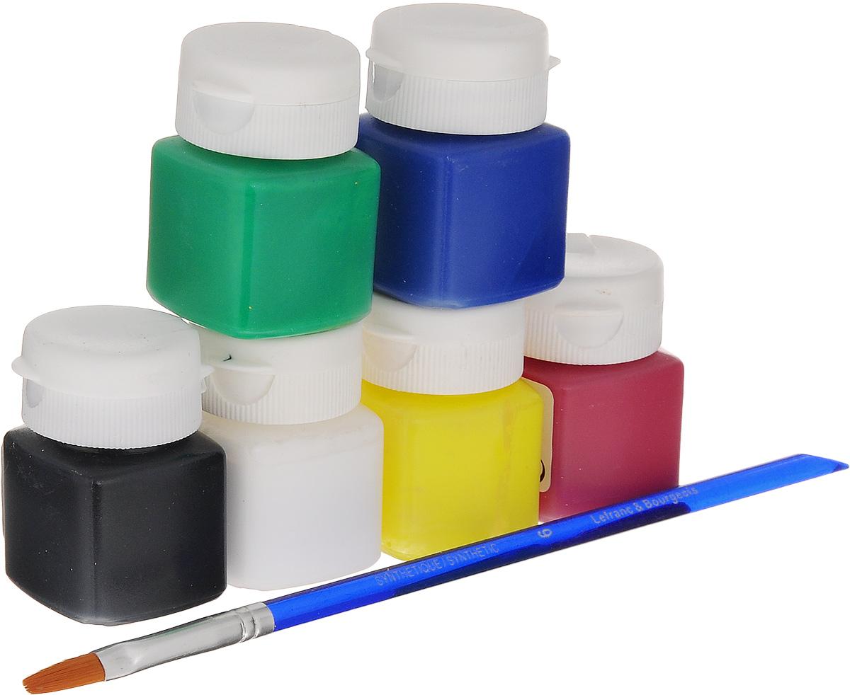 Набор акриловых красок Lefranc & Bourgeois Miss Deco Gloss, 7 предметов540820Набор Lefranc & Bourgeois Miss Deco Gloss включает 6 акриловых красок разных цветов (солнечный, кармин, зеленый, сапфир, белый, черный) и кисть. Краски с эффектом глянцевого покрытия предназначены для художественных ремесел и хобби. Могут использоваться для окрашивания дерева, оштукатуренных поверхностей, бумаги, картона и других материалов. Достаточно нанести один слой. Объем краски: 20 мл. Количество красок: 6 шт. Длина кисти: 19 см.