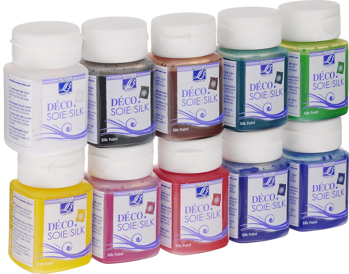Набор красок по шелку и шерсти Lefranc & Bourgeois Deco Silk, 50 мл, 10 шт540617Набор Lefranc & Bourgeois Deco Silk включает 10 красок разных цветов, предназначенных для шелка и шерсти. Используя яркость и насыщенность красок, вы сможете подчеркнуть благородство и естественность этих тканей. Благодаря своей структуре, краски усиливают мягкость и нежность тканевой основы. Высокая концентрация позволяет достичь поразительных эффектов. Краски одной и той же серии хорошо смешиваются между собой. Водорастворимы. Объем: 50 мл.
