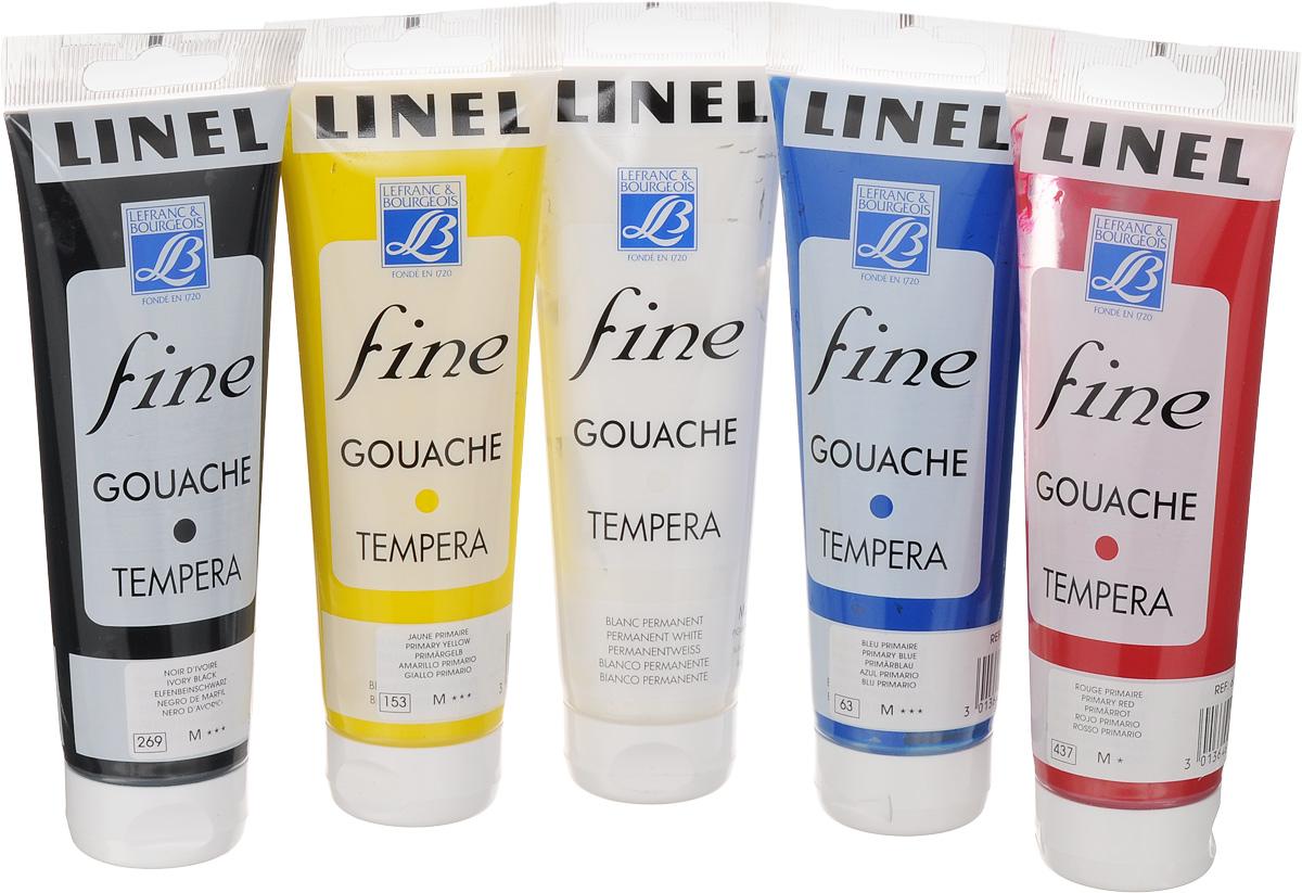 Набор гуаши Lefranc & Bourgeois Fine Linel, 120 мл, 5 шт540820Набор Lefranc & Bourgeois Linel Fine состоит из гуаши 5 разных цветов в пластиковых тубах. Краски данной серии - одни из немногих в мире, которые до сих пор, как и в давние времена, содержат чистый гуммиарабик. Цвета имеют высочайшую светостойкость, поэтому могут быть использованы для достижения необходимого эффекта прозрачности. Благодаря своей укрывистости, краска обеспечивает огромные возможности и свободу действий при использовании различных техник, недостижимых для других водорастворимых красок.