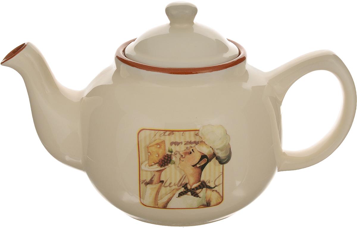 Чайник заварочный Terracotta Шеф-повар, 1 л391602Заварочный чайник Terracotta Шеф-повар изготовлен из высококачественной глазурованной керамики. Изделие оснащено удобной ручкой и крышкой. Элегантный чайник поможет заварить крепкий ароматный чай и великолепно украсит стол к чаепитию.Диаметр чайника (по верхнему краю): 8,5 см. Высота стенок (без учета крышки): 12,5 см.