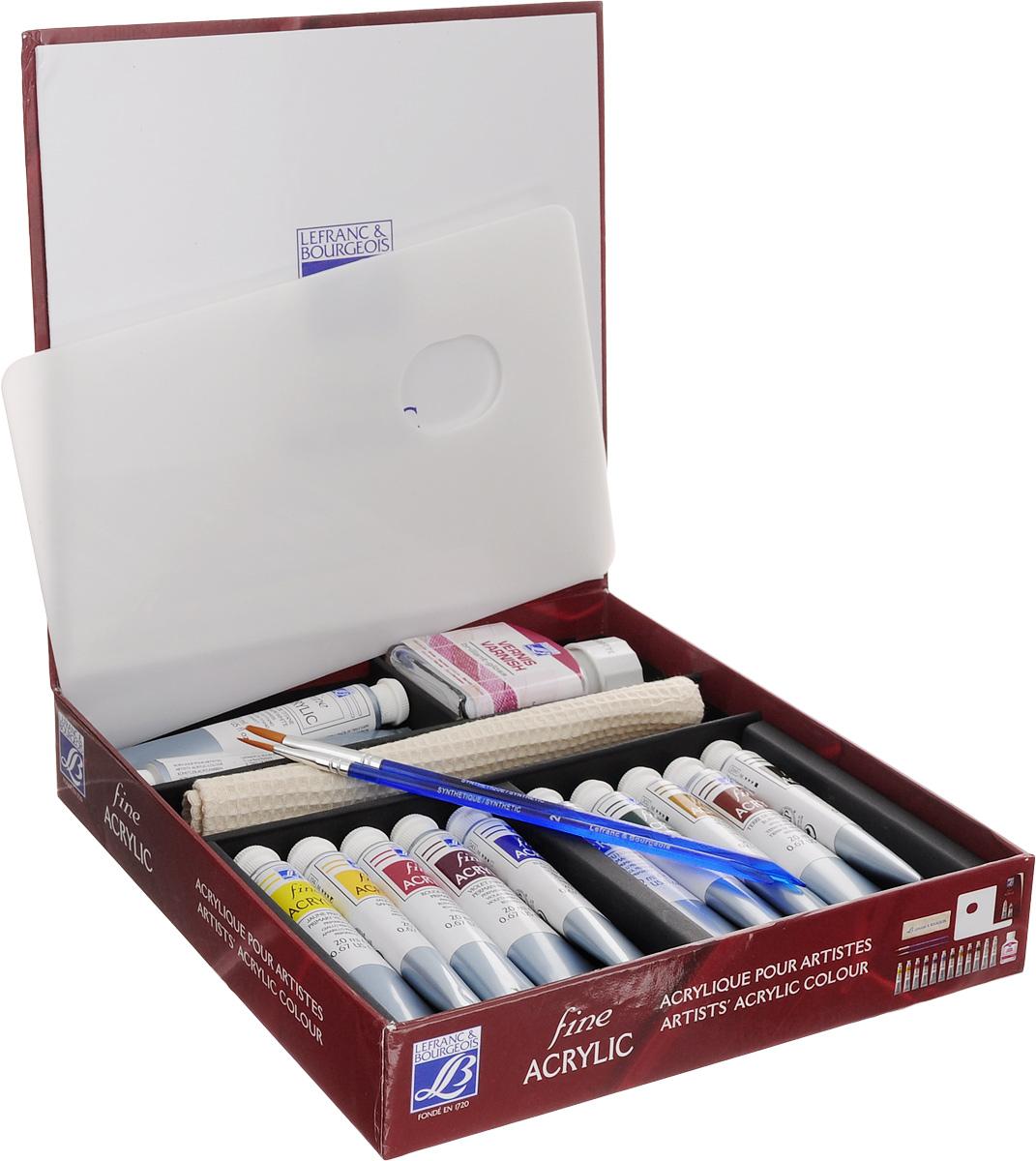 Набор акриловых красок Lefranc & Bourgeois Fine Artist, 17 предметовFS-00103Набор Lefranc & Bourgeois Fine Artist включает 10 пластиковых тюбиков акриловой краски разных цветов, 2 тюбика белой краски Titanium White, глянцевый лак в стеклянной банке, 2 кисти №2 и №6, палитру для смешивания красок и полотенце для рук с вышитым логотипом. Краски могут использоваться на разнообразных поверхностях, разводятся в воде. Достаточно нанести один слой. При нанесении обеспечивают красивое покрытие с эффектом сатина. Объем красок: 20 мл. Количество цветов: 11. Объем лака: 75 мл. Размер полотенца: 18,5 х 19 см. Длина кистей: 18 см, 19 см. Размер палитры для смешивания красок: 23 х 15 см.