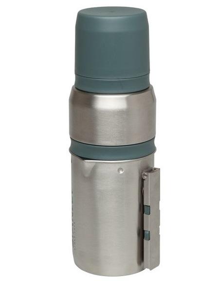 Туристический набор Stanley Mountain, цвет: стальной, 0,5 л10-01698-002Туристический набор для приготовления чая и кофе Stanley Mountain может стать незаменимым помощником в любых походных мероприятиях. Набор содержит термос из нержавеющей стали, чашки-крышки на 2 персоны, встроенную пробку-резервуар для сухого кофе или чая, емкость для заваривания чая или кофе с прессом. Все элементы набора складываются друг в друга, а получившаяся конструкция имеет компактный размер и легкий вес, что делает ее незаменимым аксессуаром в походах и путешествиях!Удерживает тепло - 15 часов, холод - 13 часов, напитки со льдом - 50 часов.