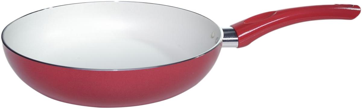 Сковорода Vari Flora, с антипригарным покрытием, цвет: красный, слоновая кость. Диаметр 24 см391602Сковорода Vari Flora изготовлена из алюминия с внутренним антипригарным покрытием цвета слоновой кости, которое позволяет контролировать процесс жарки любимых блюд. Покрытие имеет идеально гладкую поверхность с формулой двойной защиты от пригорания. Модное внешнее покрытие обладает высокой жаропрочностью, экологически чистое, легко очищается, долго сохраняет свой цвет. Удобная ручка подобрана точно под цвет корпуса и изготовлена из прочного бакелитового сплава, который не нагревается, оберегает руки от ожогов.Яркая, стильная сковорода Vari Flora привнесет отличное настроение в порой обыденный процесс приготовления блюд. Можно использовать на газовых, электрических и стеклокерамических плитах. Можно мыть в посудомоечных машинах. Диаметр по верхнему краю: 24 см.Толщина дна: 2,5 мм.Толщина стенок: 2,5 мм.Высота стенок: 4,5 см.