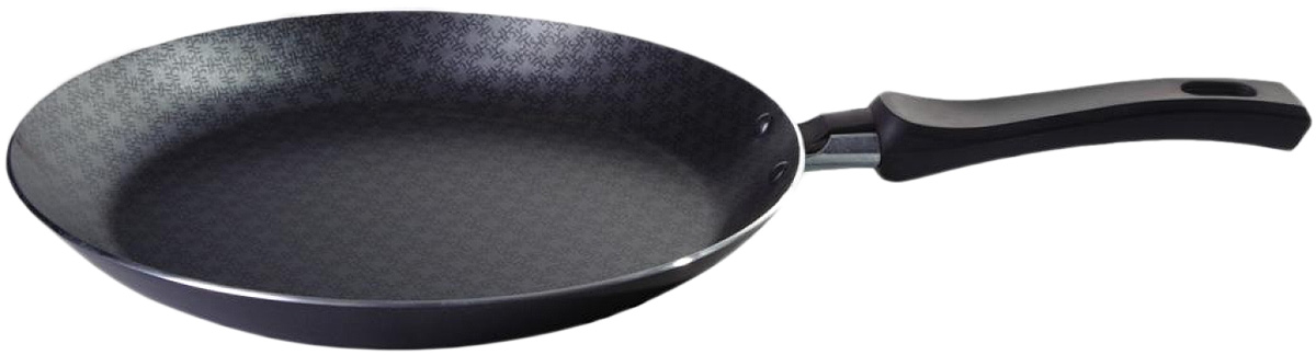 Сковорода блинная Vari Vita, цвет: черный. Диаметр 26 см391602Благодаря удачному сочетанию функциональных свойств и усиленного покрытия посуда серии Vita позволяет готовить низкокалорийную пищу за счет использования минимального количества жиров. Посуда выполнена из штампованного алюминия толщиной до 2,8 мм. Корпус быстро и равномерно разогревается, распределяет и удерживает тепло. Классическое сочетание цветов внешнего и внутреннего покрытия создадут атмосферу уюта и удачно дополнят интерьер любой кухни.Антипригарное покрытие Scandia - одно из самых популярных и качественных покрытий в среднем ценовом сегменте. Прекрасно зарекомендовало себя на протяжении долгих лет. Уникальные рисунок в виде сот выполняет не только декоративную функция, но и обеспечивает дополнительный усиленный антипригарный слой.Внешнее жаростойкое покрытие черного цвета с ярким перламутровым блеском.