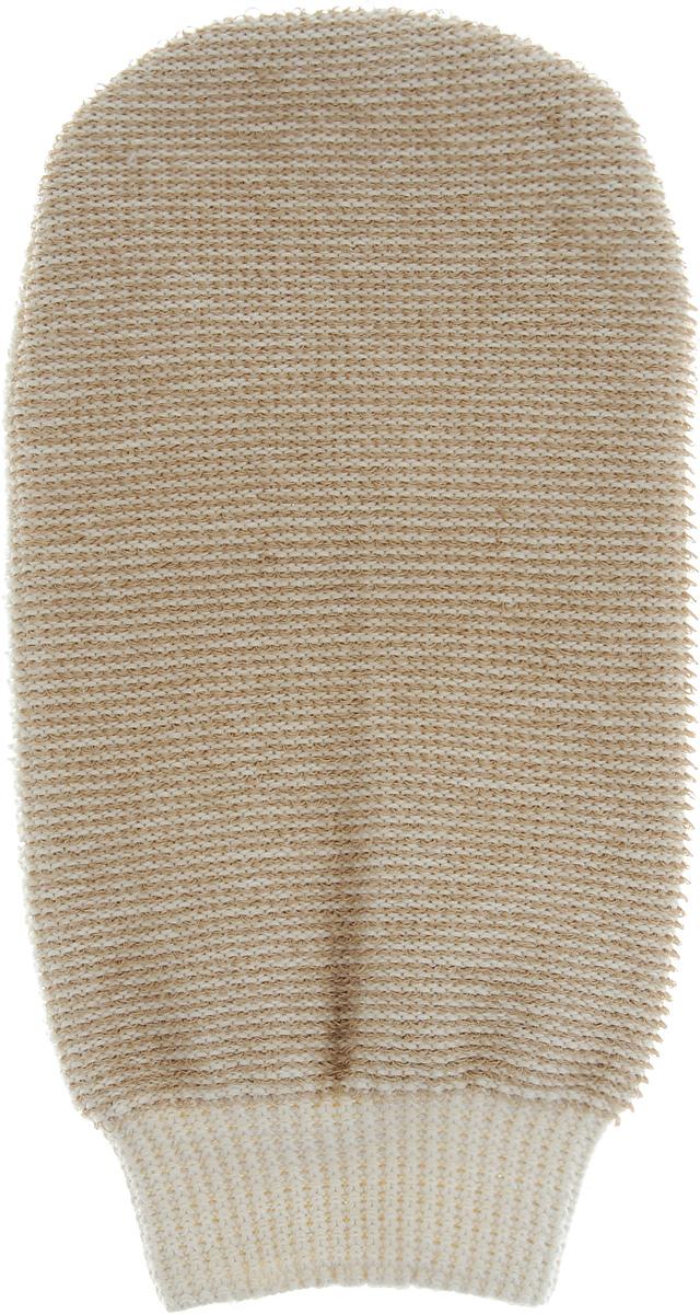 Мочалка-рукавица массажная Riffi, двухсторонняя, цвет: бежевый, 22 х 13 см5010777139655Мочалка-рукавица Riffi выполнена из хлопка, полиэстера и полиэтилена. Она применяется для мытья тела, обладает активным пилинговым действием, тонизирует, массирует и эффективно очищает вашу кожу. Интенсивный и пощипывающий массаж с применением такой мочалкой усиливает кровообращение и улучшает общее самочувствие. Благодаря отшелушивающему эффекту, кожа освобождается от отмерших клеток, становится гладкой, упругой и свежей. Мочалка-рукавица Riffi приносит приятное расслабление всему организму. Борется с болями и спазмами в мышцах, а также эффективно предупреждает образование целлюлита. Товар сертифицирован.