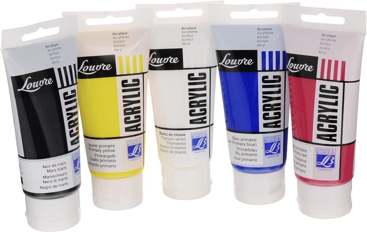 Набор акриловых красок Lefranc & Bourgeois Louvre, 80 мл, 5 шт540333Набор Lefranc & Bourgeois Louvre состоит из 5 пластиковых тюбиков акриловой краски разных цветов. Краски отлично разводятся в воде. Используются для рисования на любой немасляной поверхности: холст, бумага, картон, дерево, ацетатная ткань, материя и другие материалы. Пигмент в связующем имеет высокую прочность, что характерно для этих красок. Связующее, создающее гибкую защитную пленку на поверхности произведения для защиты от кракелюр, исключительно устойчиво к старению и пожелтению от времени. Быстросохнущие краски могут накладываться слоями без риска их взаимопроникновения.