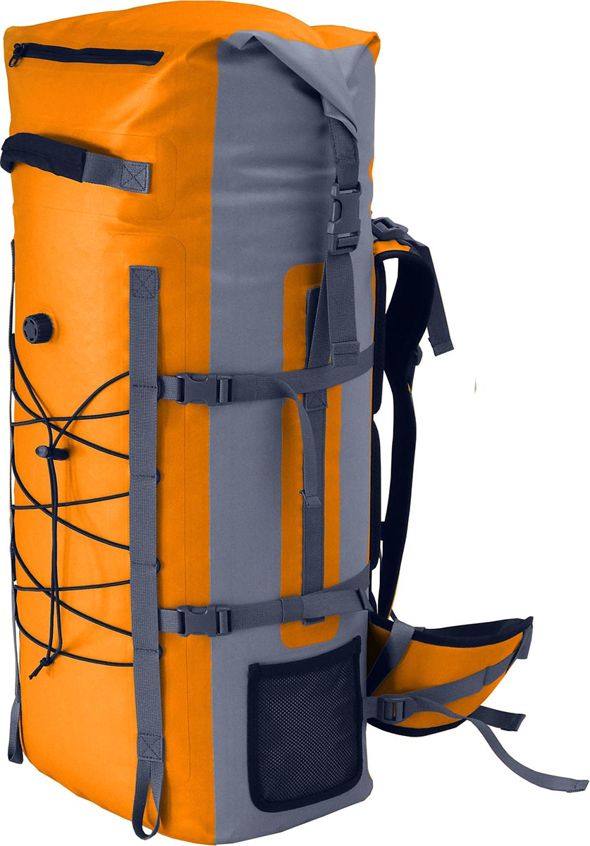 Герморюкзак Nova Tour Амфибия 60, цвет: серый, оранжевый, 60 лVR-K-40Вместительный герморюкзак Nova Tour Амфибия 60 подойдет любителям активного отдыха. Он защитит вещи от влаги в дождь и сырую погоду. Изделие оснащено боковыми стяжкамии подвесной системой. Рюкзак имеет одно вместительное отделение. Спереди имеется влагозащищенный карман на застежке-молнии и спусковой клапан. По бокам расположено 2 небольших сетчатых кармашка для мелочей. Передние резиновые стяжки позволяют взять с собой различные вещи или горное снаряжение. Сверху имеется ручка для переноски в руке. Мягкие вставки на спинке обеспечивают удобство эксплуатации рюкзака.