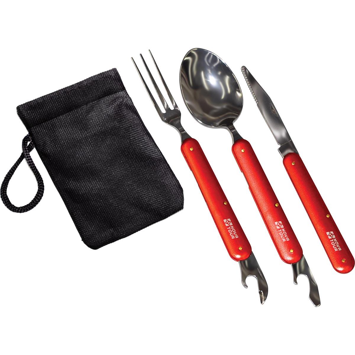 Набор столовых приборов складных NOVA TOUR ST-1, цвет: красныйKOC-H19-LEDКомпактный набор столовых приборов со складными ручками. Ложка и вилка имеют консервный нож. Набор укопмплектован тканевым мешочком.; Материал Нержавеющая пищевая сталь/пищевой алюминийВес (кг) 0,14