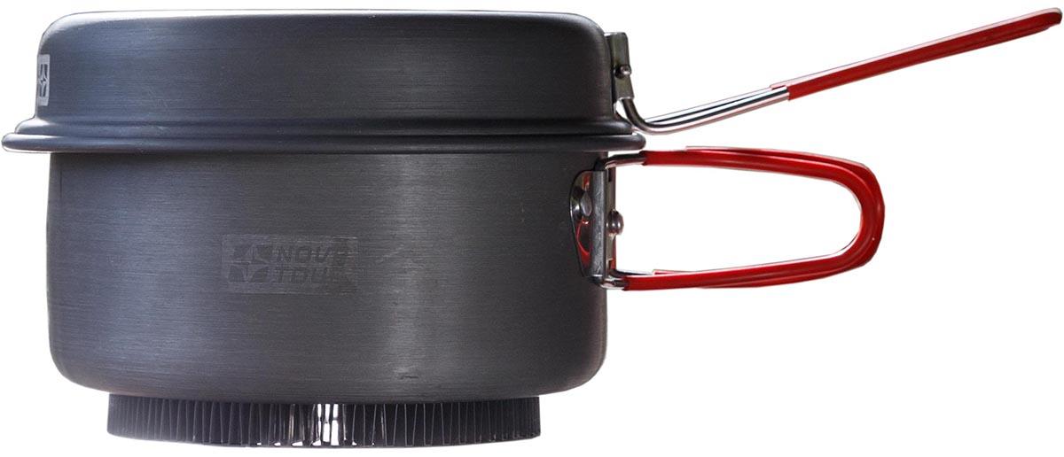 Кастрюля Nova Tour Инферно с крышкой-сковородой, цвет: металлик, красный, 1,7 л0003929Кастрюля Nova Tour Инферно изготовлена из анодированного алюминия. Изделие оснащено плотно прилегающей крышкой, которая одновременно является сковородкой.Радиаторное кольцо на дне кастрюли позволяет экономить до 50% топлива и уменьшить время приготовления пищи. Наличие складной ручки добавляет удобства при использовании и не увеличивает объем, занимаемый кастрюлей при транспортировке.Кастрюлю и крышку можно использовать как вместе, так и отдельно. Вес: 0,5 кг.Вместимость: 1,7 л.