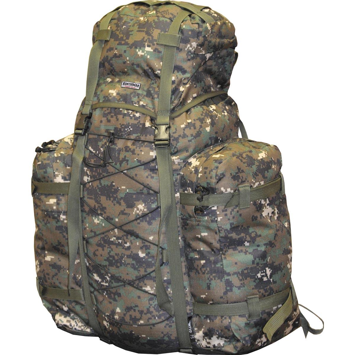 Рюкзак для охоты Hunterman Nova Tour Контур 75 V3 км, цвет: диджитал зеленый, 75 л67742Рюкзак для охоты Hunterman Nova Tour Контур 75 V3 км - легкий, компактный рюкзак для охоты и рыбалки. Находка для любителей активного отдыха на природе! Стильный, вместительный, удобный в эксплуатации! Надежный помощник при переноске необходимого снаряжения для рыбной ловли и охоты. Вертикальная смягчающая вставка добавляет жесткости спинке рюкзака, в плавающем клапане карман для мелочей, съемная поясная стропа. Ткань Poly Oxford 300D Ripsto.