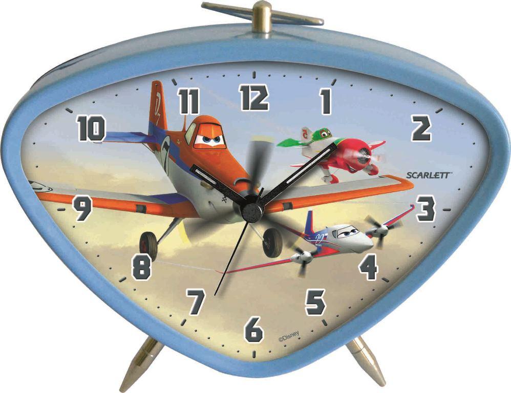 """Будильник """"Scarlett"""" с надежным кварцевым механизмом - это не только функциональное устройство, но и оригинальный элемент декора, который великолепно впишется в интерьер детской комнаты. Он снабжен четырьмя стрелками: часовой, минутной, секундной и стрелкой завода. Циферблат оформлен изображением Дасти из мультфильма """"Самолеты"""". Сверху будильник декорирован металлическим подвижным треугольным подвесом, располагается устройство на подставке и двух ножках. Сигнал будильника электронный, работает до его отключения. Отличительной особенностью этого будильника является то, что он обладает плавным, бесшумным ходом. Будильник работает от 1 батарейки типа АА напряжением 1,5 В (батарейка в комплект не входит). Будильник """"Scarlett"""" - это надежность, качество и изящность стиля во все времена."""