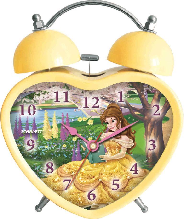 """Будильник """"Scarlett"""" с надежным кварцевым механизмом - это не только функциональное устройство, но и оригинальный элемент декора, который великолепно впишется в интерьер детской комнаты. Он снабжен четырьмя стрелками: часовой, минутной, секундной и стрелкой завода. Циферблат в форме сердца оформлен изображением прекрасной Белль из диснеевского мультфильма """"Красавица и Чудовище"""". Сверху будильника располагается механический звонок, работает до его отключения. Отличительной особенностью этого будильника является то, что он обладает плавным, бесшумным ходом. Будильник работает от 1 батарейки типа АА напряжением 1,5 В (батарейка в комплект не входит). Будильник """"Scarlett"""" - это надежность, качество и изящность стиля во все времена."""