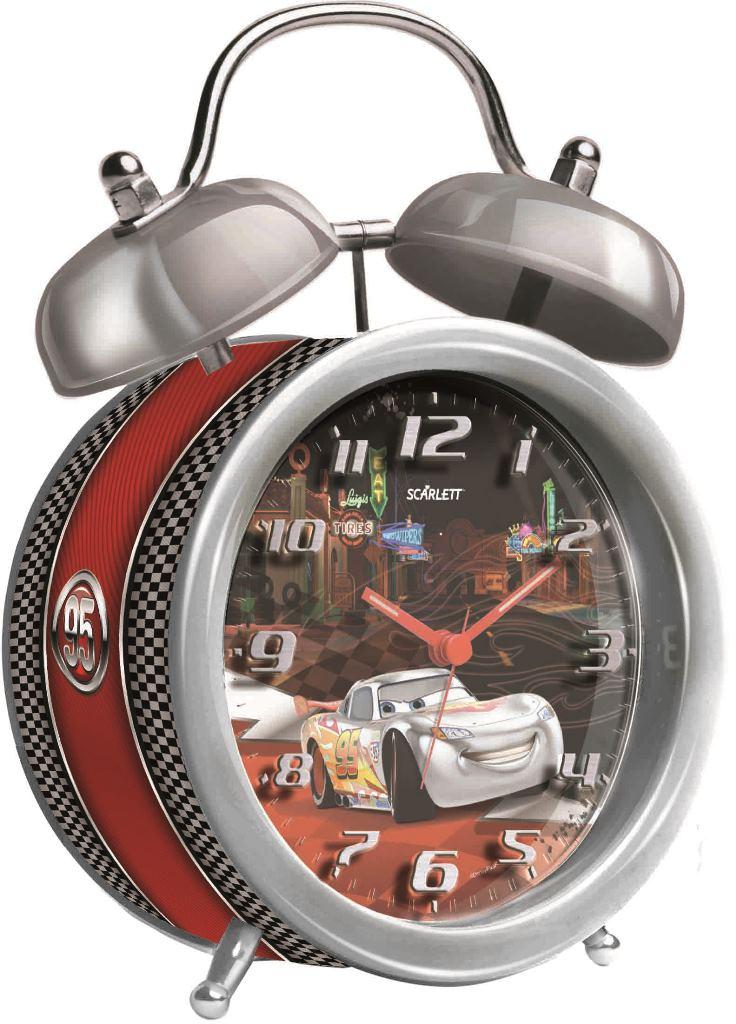 Будильник Scarlett. SC - ACD09C94672Будильник Scarlett с надежным кварцевым механизмом - это не только функциональное устройство, но и оригинальный элемент декора, который великолепно впишется в интерьер детской комнаты. Он снабжен четырьмя стрелками: часовой, минутной, секундной и стрелкой завода. Циферблат оформлен изображением героев мультфильма Тачки. Сверху будильника располагается механический звонок, работает до его отключения. Отличительной особенностью этого будильника является то, что он обладает плавным, бесшумным ходом. Будильник работает от 1 батарейки типа АА напряжением 1,5 В (батарейка в комплект не входит). Будильник Scarlett - это надежность, качество и изящность стиля во все времена.
