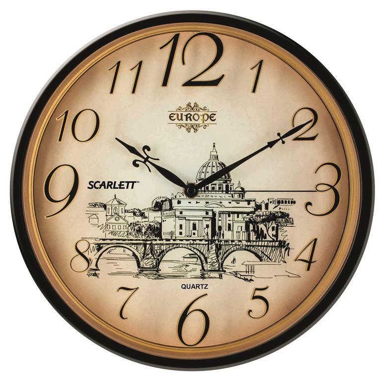 Часы настенные Scarlett, диаметр 31,5 см. SC - WC1001I94672Настенные кварцевые часы Scarlett в классическом дизайне, изготовленные из пластика, прекрасно впишутся в интерьер вашего дома. Круглые часы имеют три стрелки: часовую, минутную и секундную, циферблат защищен прозрачным пластиком. Часы работают от 1 батарейки типа АА напряжением 1,5 В (батарейка в комплект не входит). Диаметр часов: 31,5 см.